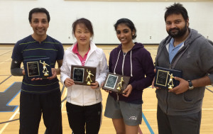 The top players at the Nova Scotia Table Tennis Association marathon event at Cape Breton Highlands Education Centre/Academy on Saturday were, from left: Dipan Shah (1st A-division), Wei Ai (2nd B-division), Sangeetha Seshadri (2nd A-division), and Vinay Kumar Sukamar (1st C-division).